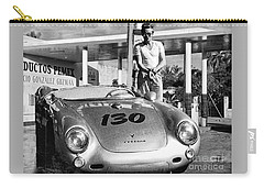 James Dean Filling His Spyder With Gas Black And White Carry-all Pouch by Doc Braham