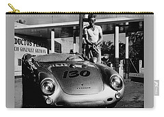 James Dean Filling His Spyder With Gas In Black And White Carry-all Pouch by Doc Braham