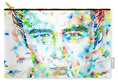 James Dean Smoking Cigarette - Watercolor Portarit Carry-all Pouch by Fabrizio Cassetta