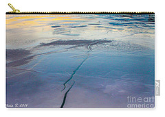 Carry-all Pouch featuring the photograph January Sunset On A Frozen Lake by Nina Silver