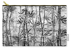 Japanese Bamboo Grunge Black And White Carry-all Pouch
