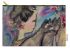 Japanese Lady And Felines Carry-all Pouch by Judith Desrosiers