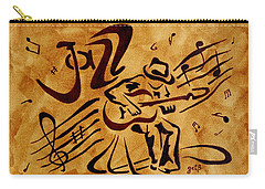 Carry-all Pouch featuring the painting Jazz Abstract Coffee Painting by Georgeta  Blanaru