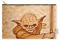 Carry-all Pouch featuring the painting Jedi Yoda Wisdom by Georgeta  Blanaru