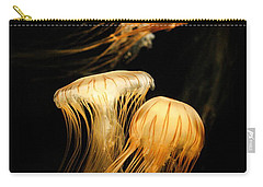 Jellyfish Trio Floating Against A Black Carry-all Pouch