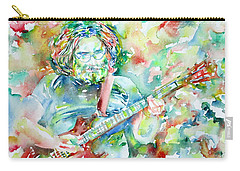 Jerry Garcia Playing The Guitar Watercolor Portrait.3 Carry-all Pouch