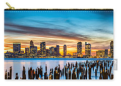 Jersey City Panorama At Sunset Carry-all Pouch by Mihai Andritoiu