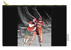 Carry-all Pouch featuring the photograph Jim Fitzpatrick Vs Charles Gipson Battling In Old School Roller Derby With The Sf Bay Bombers II by Jim Fitzpatrick