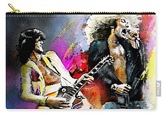 Jimmy Page And Robert Plant Led Zeppelin Carry-all Pouch by Miki De Goodaboom