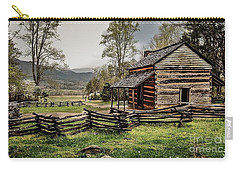 Carry-all Pouch featuring the photograph John Oliver's Cabin In Spring. by Debbie Green