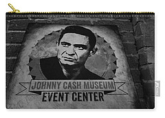Johnny Cash Black And White Carry-all Pouch by Dan Sproul