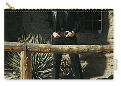 Carry-all Pouch featuring the photograph Johnny Cash Gunfighter Hitching Post Old Tucson Arizona 1971 by David Lee Guss