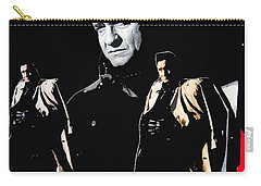Carry-all Pouch featuring the photograph Johnny Cash Multiples  Trench Coat Sitting Collage 1971-2008 by David Lee Guss