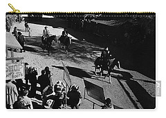 Carry-all Pouch featuring the photograph Johnny Cash Riding Horse Filming Promo Main Street Old Tucson Arizona 1971 by David Lee Guss