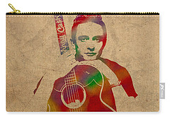 Johnny Cash Watercolor Portrait On Worn Distressed Canvas Carry-all Pouch