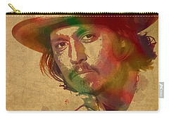 Johnny Depp Watercolor Portrait On Worn Distressed Canvas Carry-all Pouch by Design Turnpike