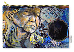 Johnny Winter Painted Guitar Carry-all Pouch by Fiona Kennard