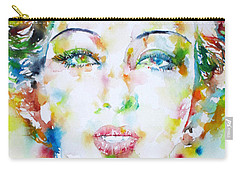 Josephine Baker - Watercolor Portrait Carry-all Pouch by Fabrizio Cassetta