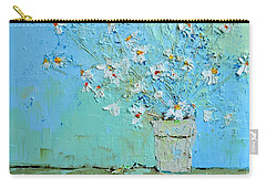 Joyful Daisies, Flowers, Modern Impressionistic Art Palette Knife Oil Painting Carry-all Pouch