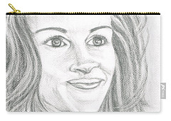Carry-all Pouch featuring the drawing Julia Roberts by Teresa White