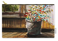 Carry-all Pouch featuring the painting Just Gathered Wildflowers by John Williams