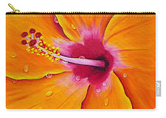 Just Peachy - Hibiscus Flower  Carry-all Pouch by Shelia Kempf