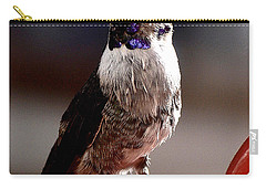 Carry-all Pouch featuring the photograph Juvenile Male Anna On Perch by Jay Milo