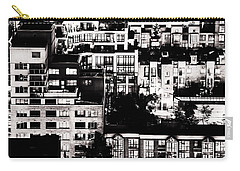 Carry-all Pouch featuring the photograph Black And White - Juxtaposed And Intimate Vancouver View At Night - Fineart Cards by Amyn Nasser