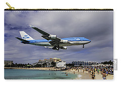K L M Landing At St. Maarten Carry-all Pouch by David Gleeson