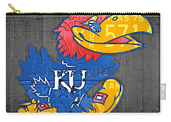 Kansas Jayhawks College Sports Team Retro Vintage Recycled License Plate Art Carry-all Pouch