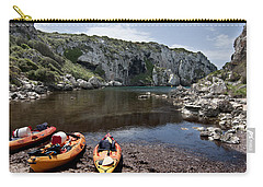 Kayak Time - The Landscape Of Cales Coves Menorca Is A Great Place For Peace And Sport Carry-all Pouch by Pedro Cardona