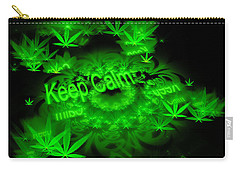 Keep Calm - Green Fractal Weed Art Carry-all Pouch
