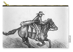 Carry-all Pouch featuring the drawing Kickin Up Dust by Shana Rowe Jackson