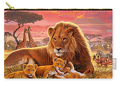 Kilimanjaro Male Lion With Cubs Carry-all Pouch