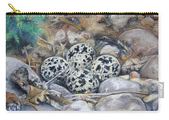 Carry-all Pouch featuring the drawing Killdeer Nest by Lori Brackett