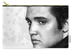 King Of Rock Elvis Presley Black And White Carry-all Pouch