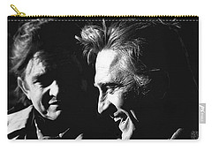 Carry-all Pouch featuring the photograph Kirk Douglas Laughing Johnny Cash Old Tucson Arizona 1971 by David Lee Guss