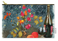 Kitchen - Peaches And Wine Painting  Carry-all Pouch by Liane Wright