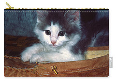 Carry-all Pouch featuring the photograph Kitten In Slipper by Sally Weigand
