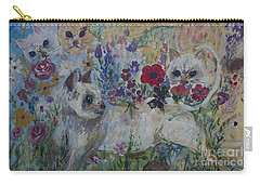 Kittens In Wildflowers Carry-all Pouch by Avonelle Kelsey