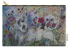 Kittens In Wildflowers Carry-all Pouch