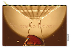 Kiwi Bird Kev - Fly Me To The Moon - Sepia Carry-all Pouch