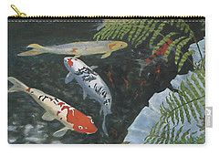 Carry-all Pouch featuring the painting Koi Fish by Karen Zuk Rosenblatt