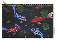Carry-all Pouch featuring the painting Koi Fishes Original Acrylic Painting by Georgeta  Blanaru