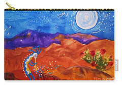 Kokopelli Playing To The Moon Carry-all Pouch by Ellen Levinson