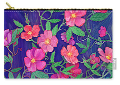 Carry-all Pouch featuring the mixed media La Vie En Rose by Teresa Ascone