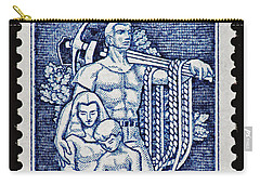Labor Day Vintage Postage Stamp Print Carry-all Pouch by Andy Prendy