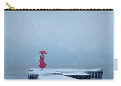 Lady In Red On Snowy Pier Carry-all Pouch
