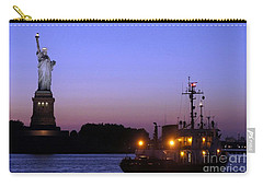 Carry-all Pouch featuring the photograph Lady Liberty At Dusk by Lilliana Mendez