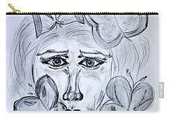 Carry-all Pouch featuring the drawing Lady Queen Of Butterflies by Ramona Matei